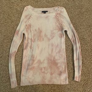 White and pink tie dye sweater